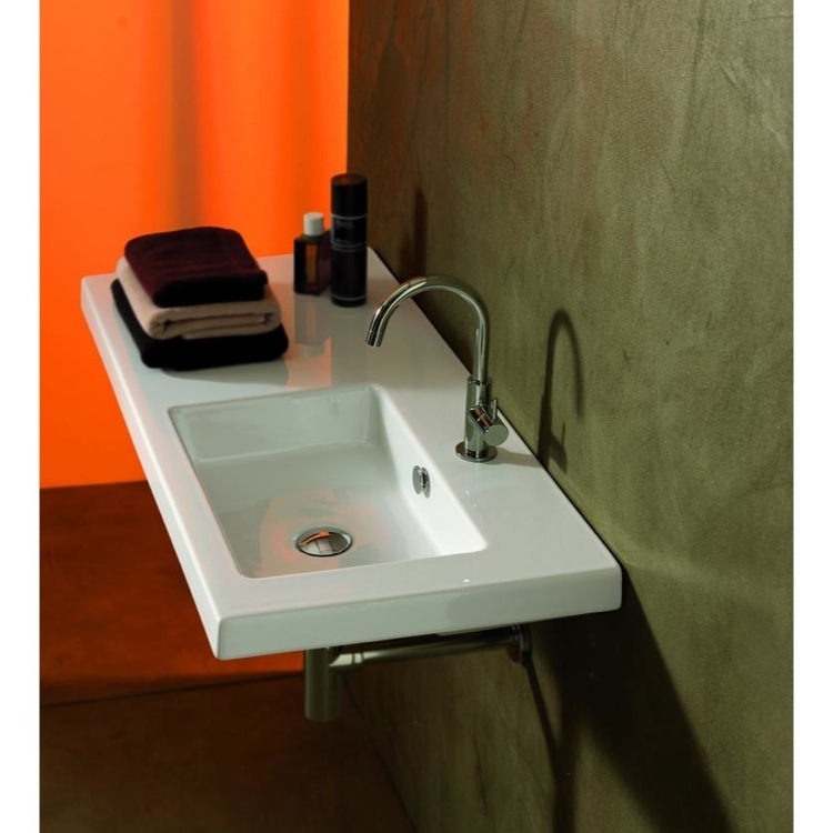 Attrayant Bathroom Sink, Tecla CO02011, Rectangular White Ceramic Wall Mounted Or  Drop In Sink