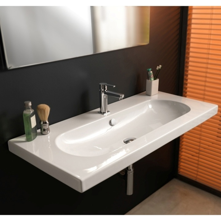 Bathroom Sink, Tecla EDW3011, Rectangular White Ceramic Wall Mounted Or  Drop In Sink