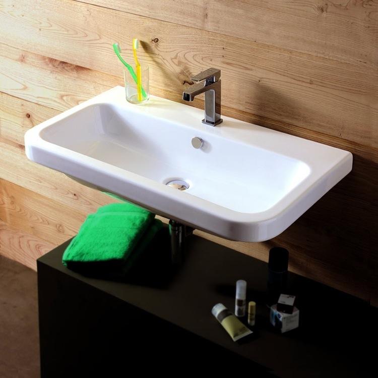 Superieur Bathroom Sink, Tecla EL02011, Rectangular White Ceramic Wall Mounted Or  Drop In Sink