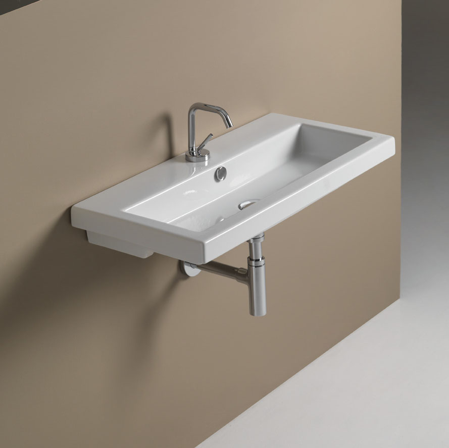 Bathroom Sink, Tecla 4002011, Rectangular White Ceramic Wall Mounted or Drop In Sink