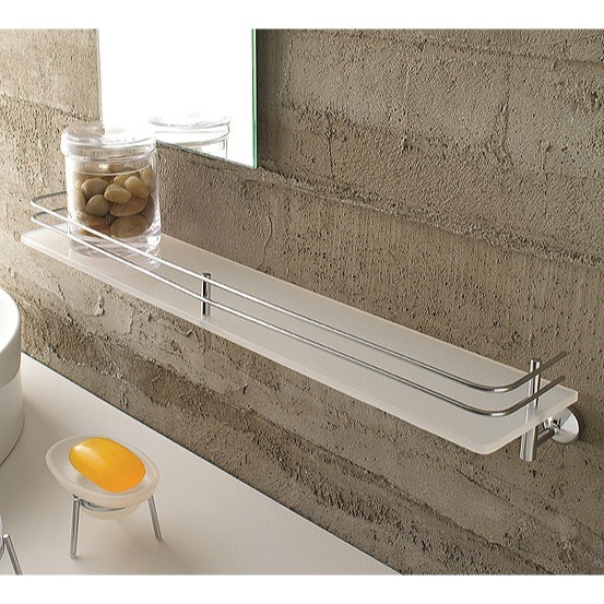 Bathroom Shelf, Toscanaluce 1513, Plexiglass 24 Inch Bath Bathroom Shelf With Railing