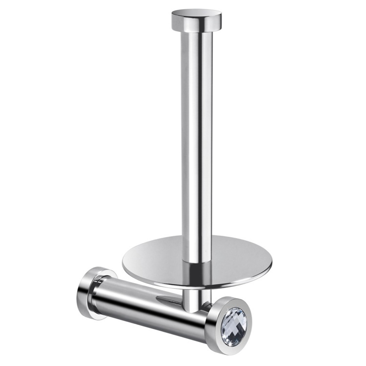 Toilet Paper Holder, Windisch 85512CRB, Vertical Wall Toilet Roll Holder In Chrome Finish With White Crystal