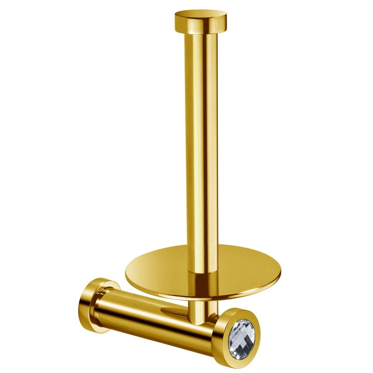 Toilet Paper Holder, Windisch 85512OB, Gold Brass Vertical Toilet Roll Holder With White Crystal