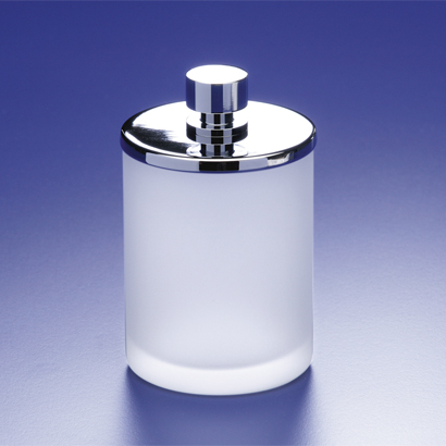 Bathroom Jar, Windisch 88124M, Round Frosted Glass Cotton Swab Jar