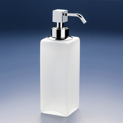Soap Dispenser, Windisch 90412M, Squared Tall Frosted Crystal Glass Soap Dispenser