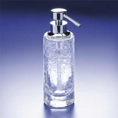 Soap Dispenser, Windisch 90414, Rounded Tall Crackled Crystal Glass Soap Dispenser