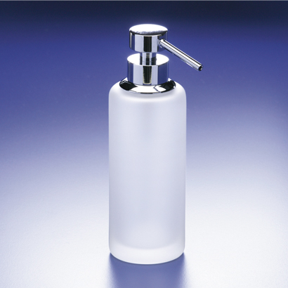 Soap Dispenser, Windisch 90414M, Rounded Tall Frosted Crystal Glass Soap Dispenser