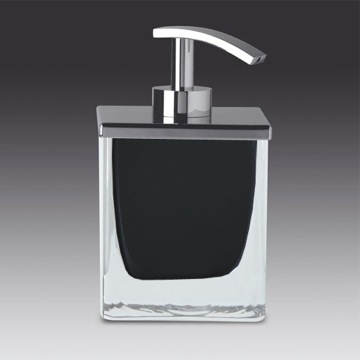 Soap Dispenser, Windisch 90433, Square Black or White Crystal Glass Soap Dispenser with Chrome Pump