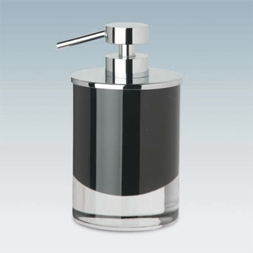 Soap Dispenser, Windisch 90435, Round Black or White Crystal Glass Soap Dispenser with Chrome Pump