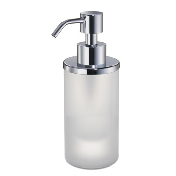 Soap Dispenser, Windisch 90463M, Round Frosted Crystal Glass Soap Dispenser