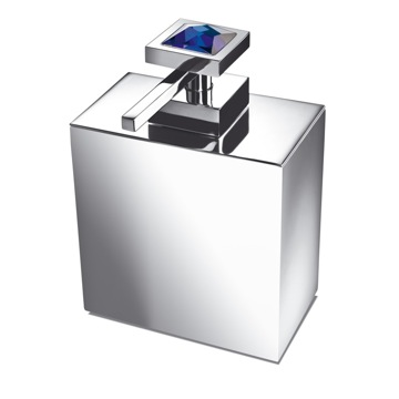 Soap Dispenser, Windisch 90501A, Square Brass Soap Dispenser with Blue Strass Swarovski Crystal on Top