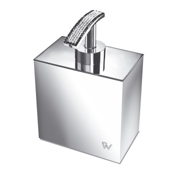 Soap Dispenser, Windisch 90511, Square Chrome or Gold Soap Dispenser with Swarovski Crystals on Top
