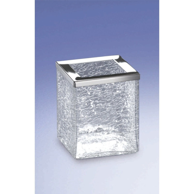 Toothbrush Holder, Windisch 91149, Free Standing Crackled Glass Square Toothbrush Holder