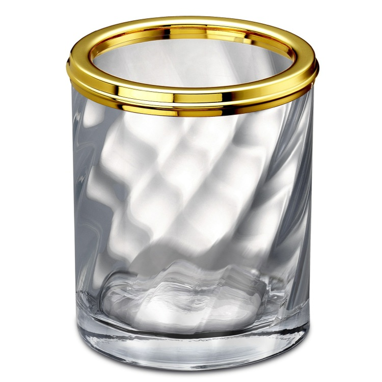 Toothbrush Holder, Windisch 91801O, Twisted Glass Toothbrush Holder In Gold Finish