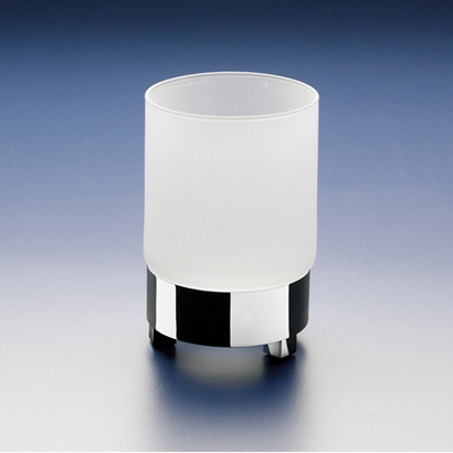 Toothbrush Holder, Windisch 94117M, Round Frosted Crystal Glass Tumbler