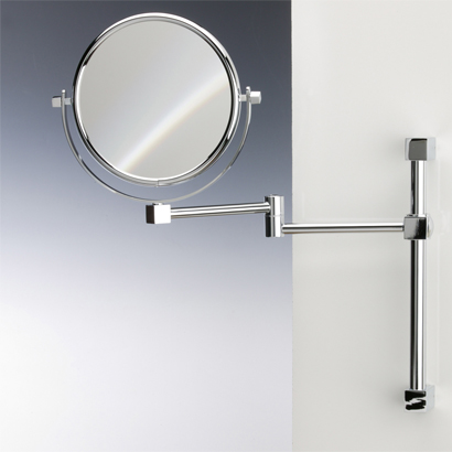 Makeup Mirror, Windisch 991403, Brass Wall Mounted Double Face 3x, 5x, 5xop, or 7x Magnifying Mirror