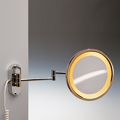 Makeup Mirror, Windisch 99150, Wall Mounted Lighted Brass 3x or 5x Magnifying Mirror