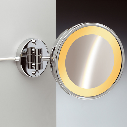 Makeup Mirror, Windisch 99153/1, Wall Mounted One Face Lighted 3x or 5x Brass Magnifying Mirror