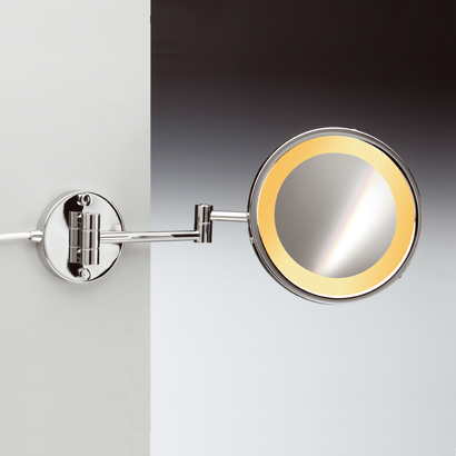Makeup Mirror, Windisch 99153/2, Wall Mounted One Face Lighted Brass 3x or 5x Magnifying Mirror