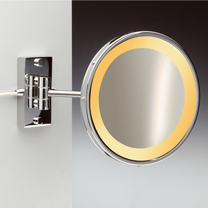 Makeup Mirror, Windisch 99157/1/D, Wall Mount One Face Hardwired Lighted 3x or 5x Brass Magnifying Mirror