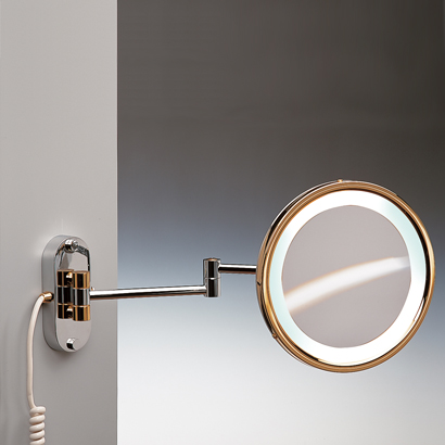 Makeup Mirror, Windisch 99180D, Round Wall Mounted Hardwired Lighted 3x or 5x Brass Magnifying Mirror