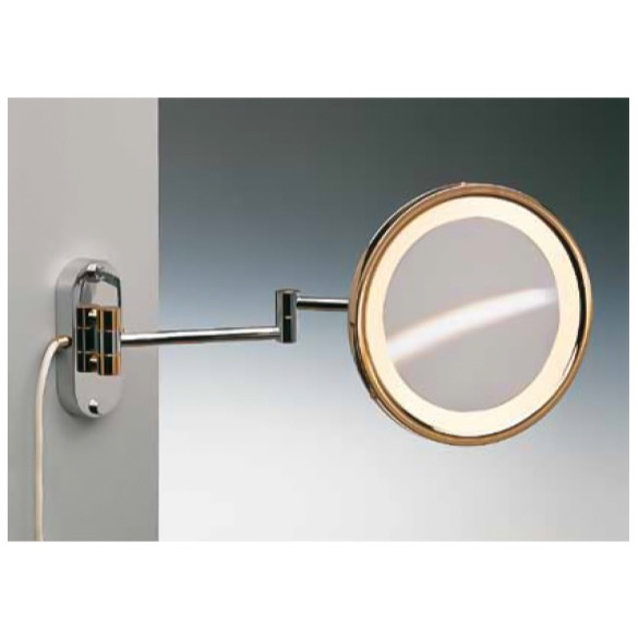 Makeup Mirror, Windisch 99250/D, Wall Mounted Brass LED Direct Wire Warm Light Mirror With 3x, 5x Magnification