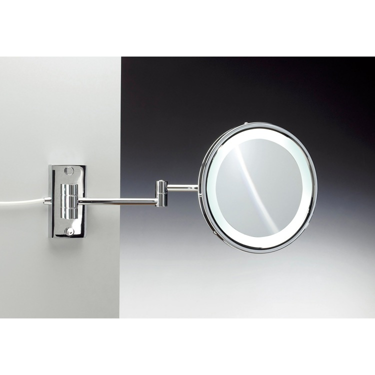 Makeup Mirror, Windisch 99287/D, Wall Mounted Brass LED Direct Wire Mirror With 3x, 5x Magnification