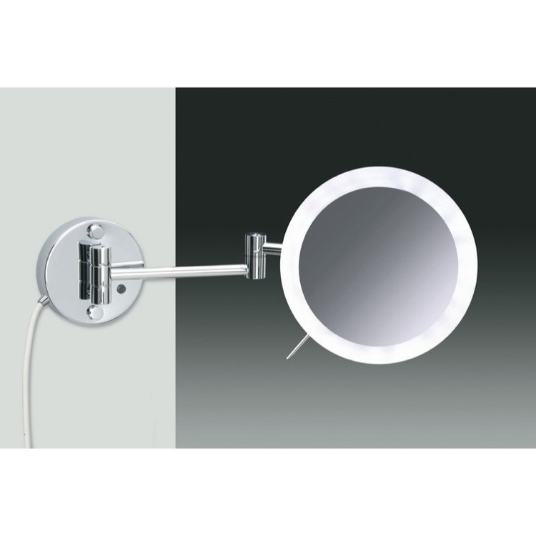 Makeup Mirror, Windisch 99650/2, Wall Mounted Chrome or Gold One Face Lighted 3x or 5x Magnifying Mirror