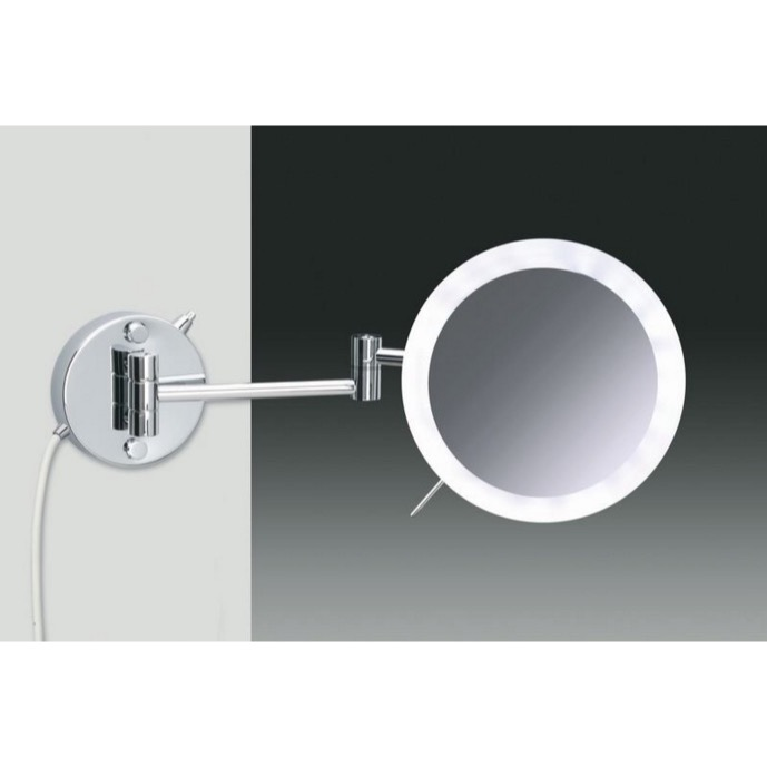 Makeup Mirror, Windisch 99650/2/D, Wall Mounted Hardwired Chrome or Gold 3x or 5x Lighted Magnifying Mirror