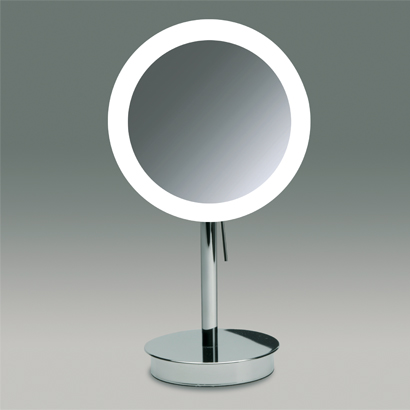 Makeup Mirror, Windisch 99651, Round Pedestal Lighted 3x or 5x Chrome or Gold Magnifying Mirror